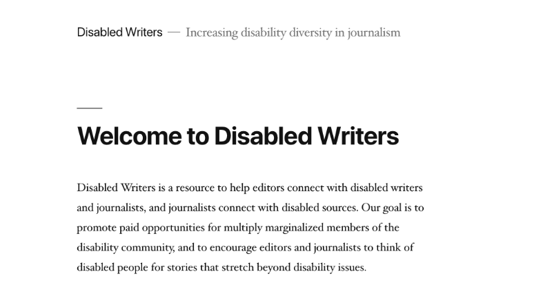 The homepage for the Disabled Writers website, displaying its homepage text.